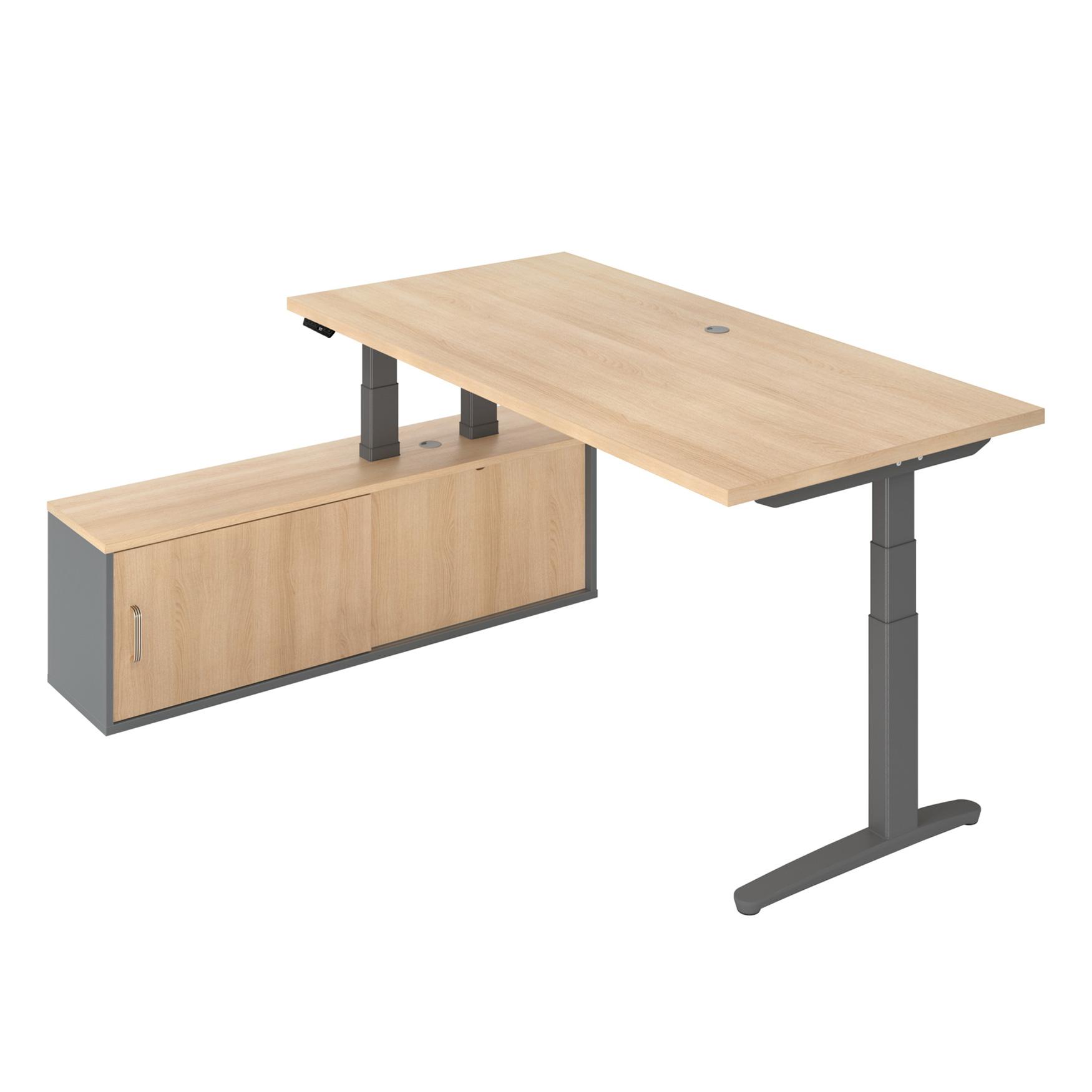 Höhenverstellbarer Schreibtisch mit Sideboard DENVER für Chefbüros