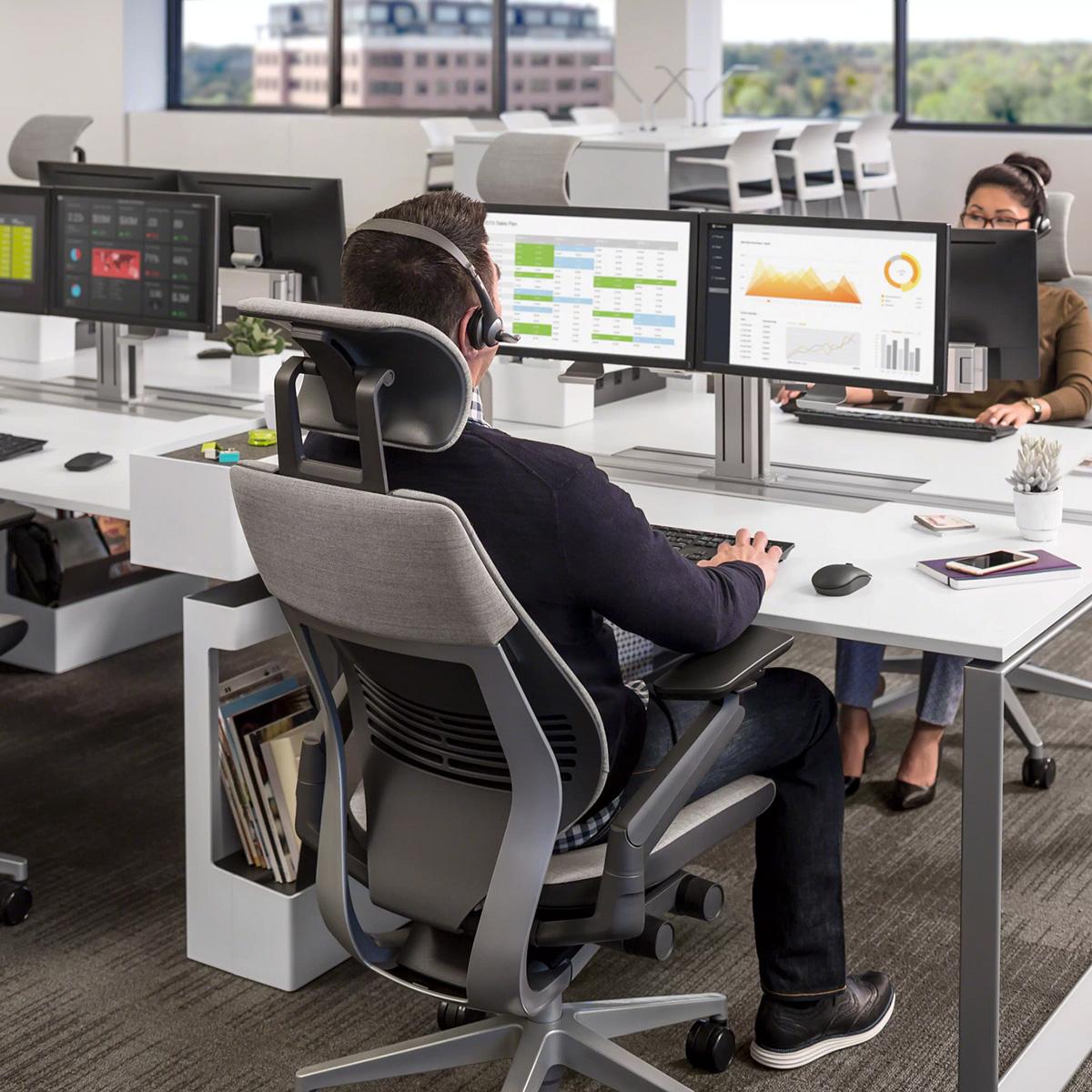 Steelcase GESTURE Bürostuhl BLACK EDITION mit Kopfstütze